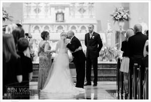 Groom cries at bride in dress