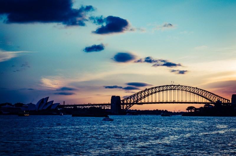 coucher de soleil sur le Harbour Bridge