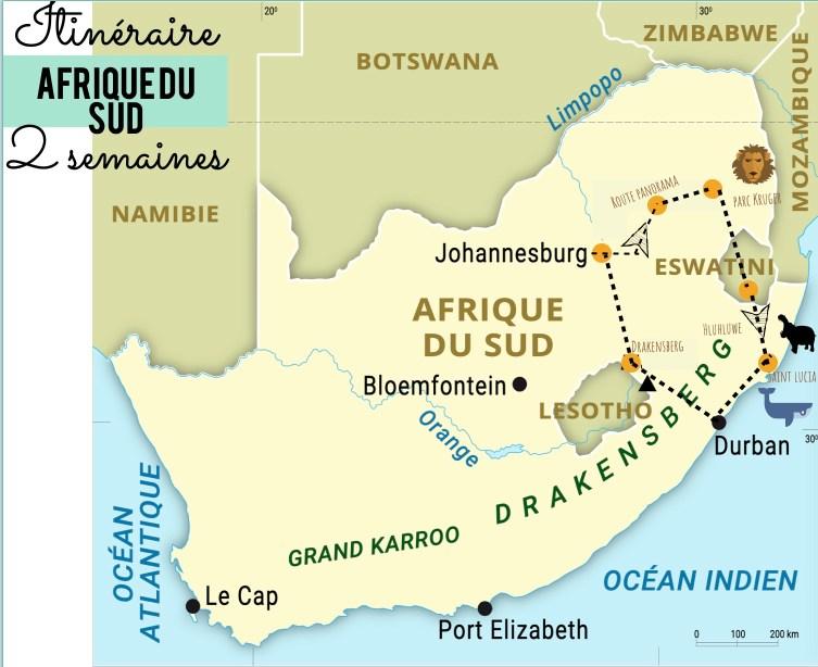 itinéraire de 15 jours en Afrique du sud sur une jolie carte