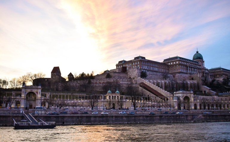 View of Buda Castle from the sunset river cruise