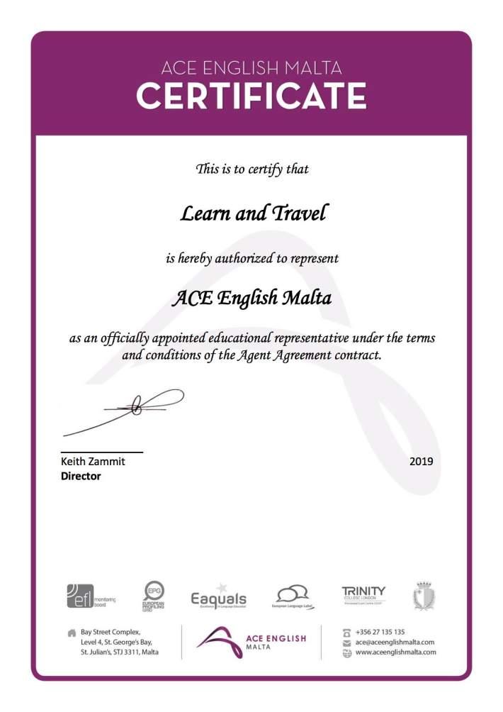 Certificate_ACE English Malta