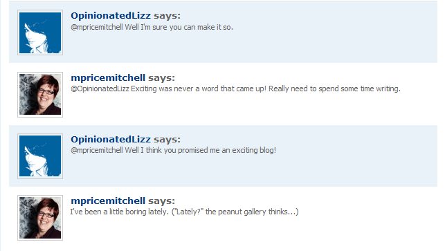 Conversation with OpinionatedLizz, January 20, 2011
