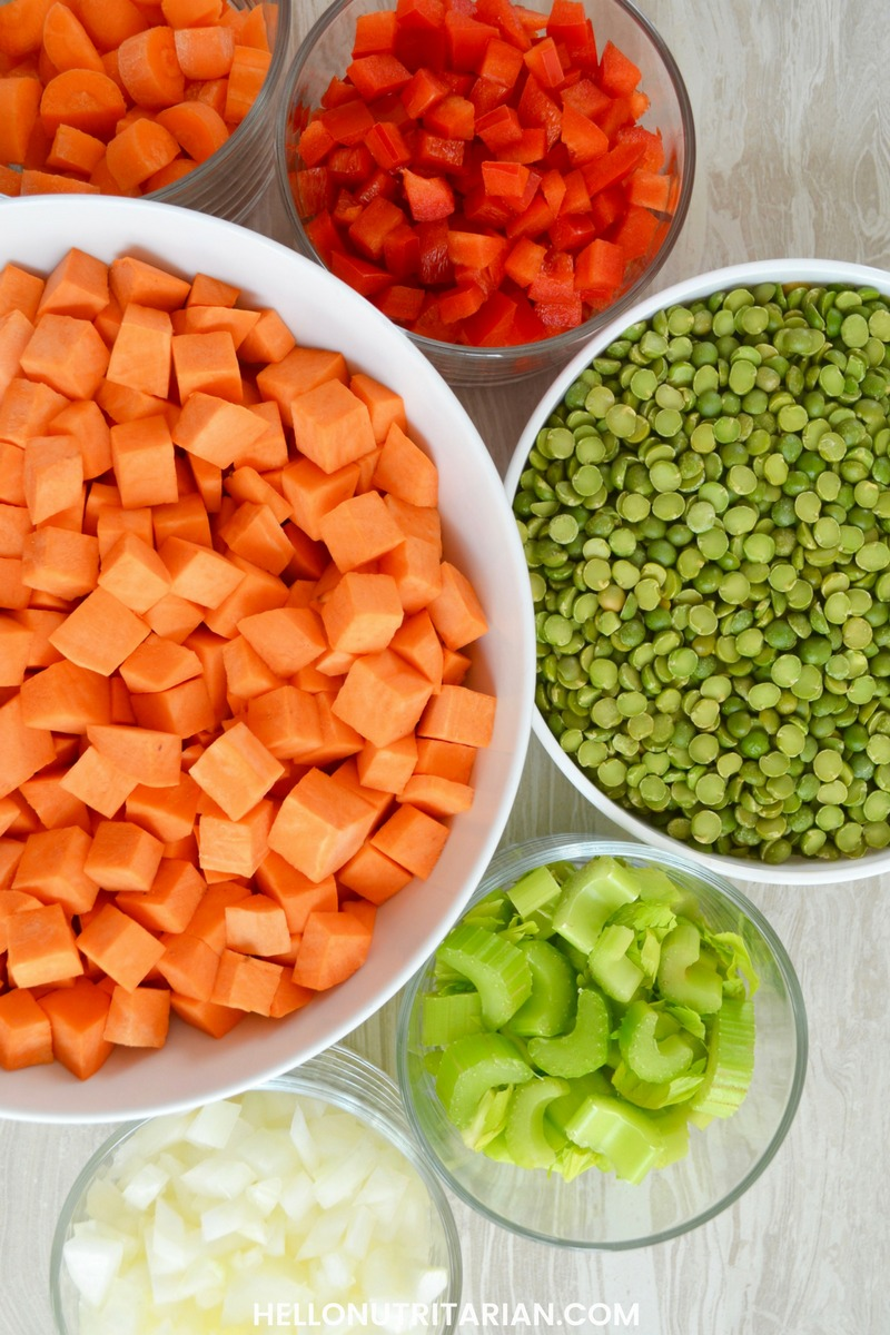 Whole Food Plant Based Recipes Ingredients Split Pea and Sweet potato soup stew Dr Fuhrman Eat to Live plan The end of Diabete Easy Vegan Soup Recipes
