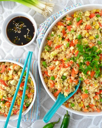 No Oil Vegan Fried Rice Recipe Tofu Fried Rice Dr Fuhrman Fast Food Genocide Eat to Live 6 week plan Dr Greger How Not to Die Daily Dozen meal plan Whole FOod Plant Based Low Sodium Fried Rice