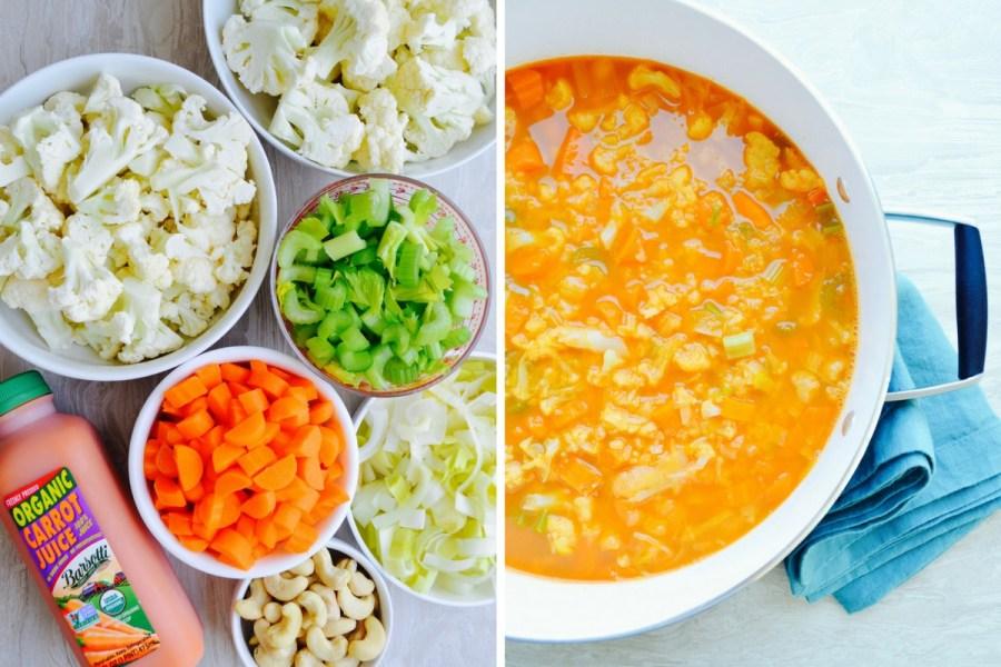 Dr Fuhrman Eat to Live recipes Golden Cauliflower Cream Soup no salt no oil ingredients