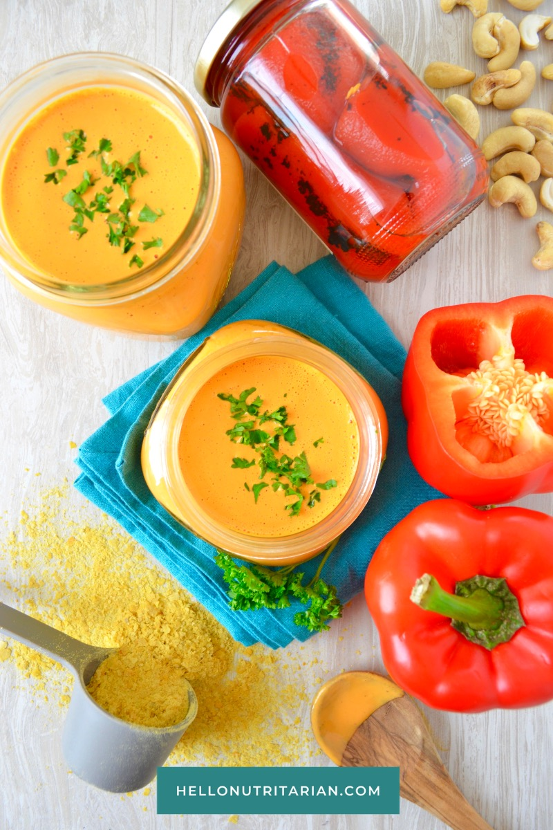 Vegan Cheese Sauce Recipe No Oil Vegan Cheese Dr Fuhrman 6 week Eat to Live plan menu recipe What the Health Dr Greger Daily Dozen No Soak Red Pepper Cheese Sauce Whole-Food Plant Based