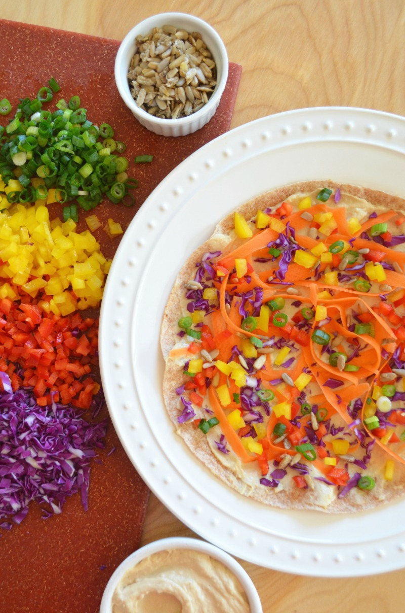 Rainbow Hummus Veggie Wrap Rolls recipe Dr Fuhrman Eat to Live program 6 week diet nutritarian Dr Greger whole food plant based recipe healthy lunch