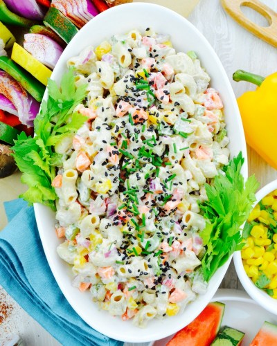 no oil vegan macaroni salad low dosium nutritarian perfect BBQ side dish for Dr fuhrmans Eat to Live plan tofu cashew mayo whole food plant based recipe What the Health