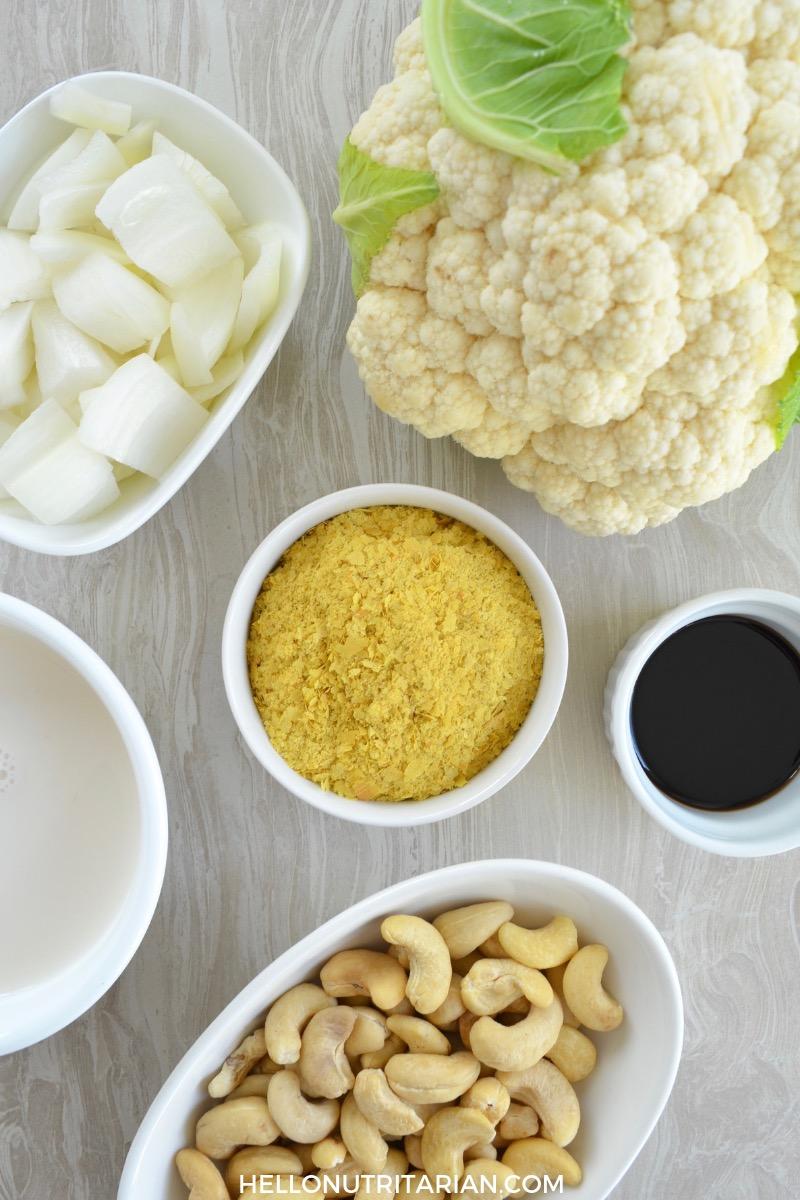 Classic Cauliflower Cashew Cream Sauce Ingredients Dr Fuhrman Eat to Live Weight Loss Recipe WFPB Vegan Alfredo sauce