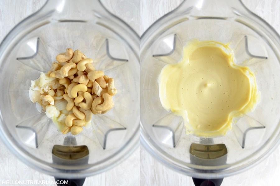 Classic Cauliflower Cashew Cream Sauce Process Collage Blender Recipe Vegan SOS Free Alfredo Sauce Chef AJ Dr Fuhrman Dr Greger How Not to Die