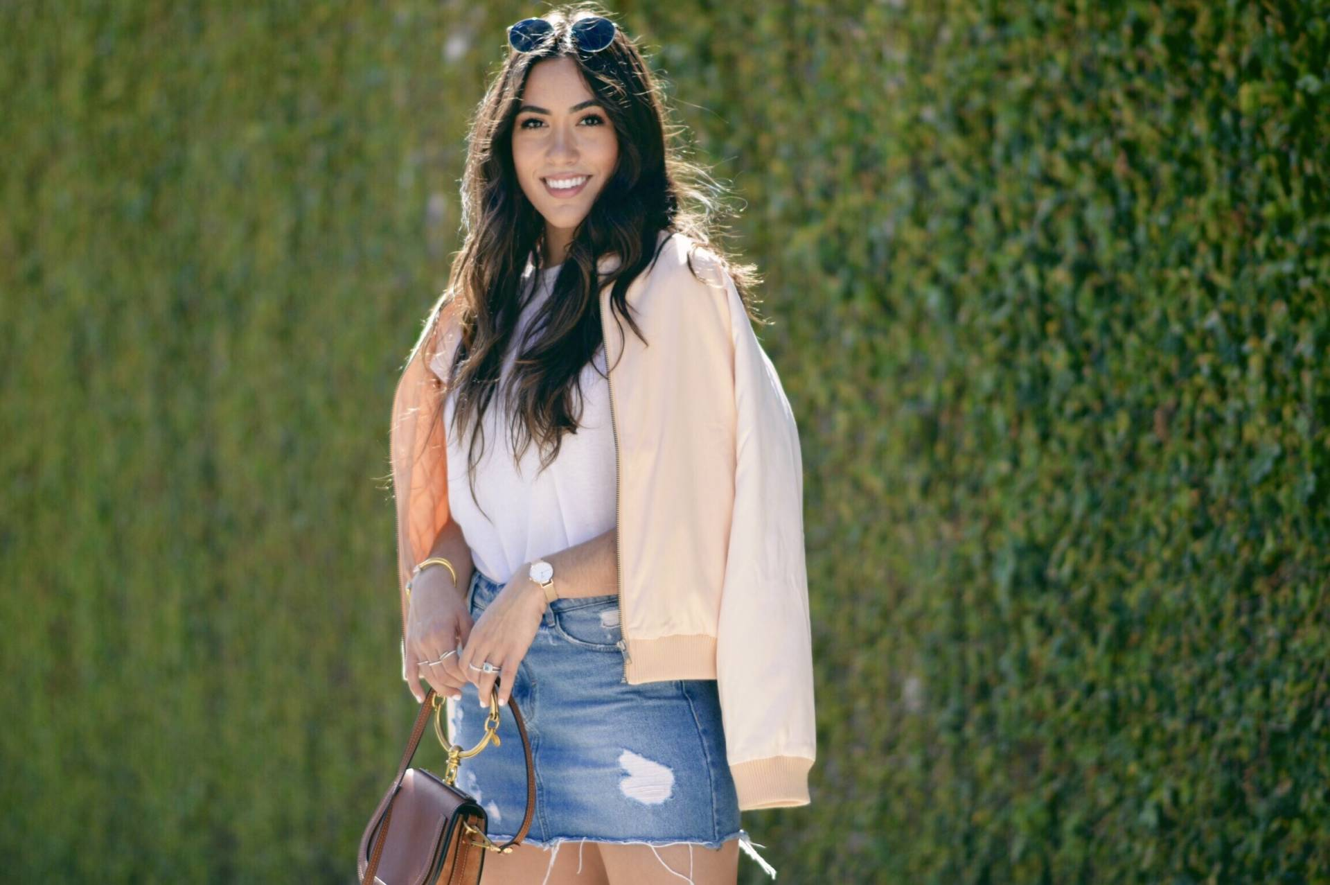 lovers-and-friends-los-angeles-jacket-with-denim-skirt-and-white-tee