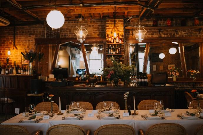 Le Café du Marché French restaurant in London Art Deco interior intimate wedding