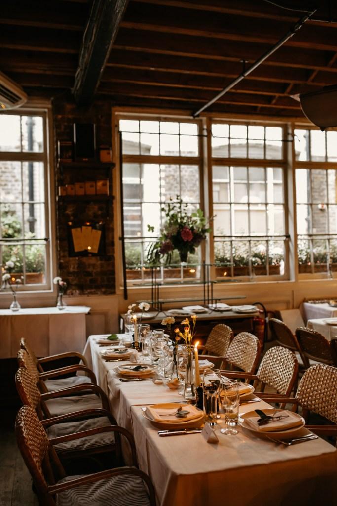 intimate london wedding le cafe du marche london