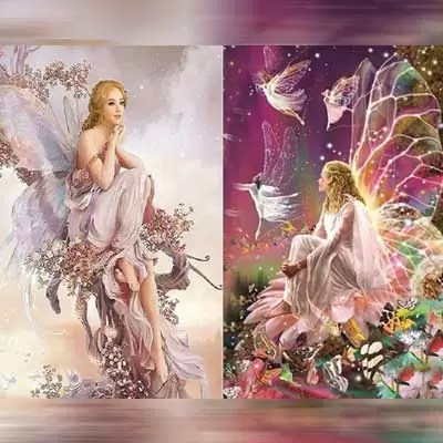 BBTO 2 Sets 5D Full Drill Diamond Painting Kits Fairies Queen Spirits Pattern Diamond Embroidery Pictures for DIY Home Art Craft Painting Decoration