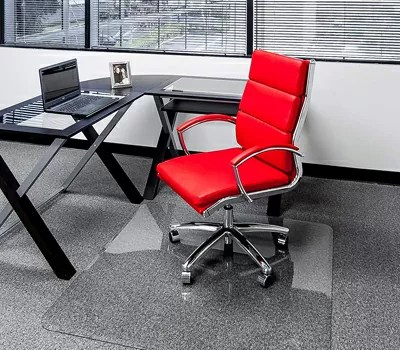 Clearly Innovative Glass Chair Mat with Beveled Edge Protect Your Home or Office Floor