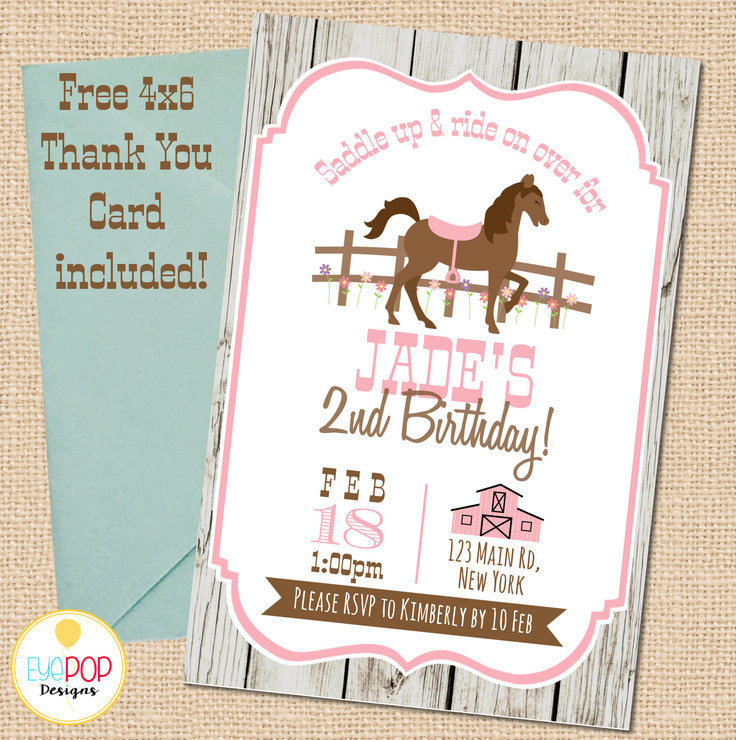 horse birthday invitation saddle up cowgirl shabby chic rustic pink brown digital printable thank you card free