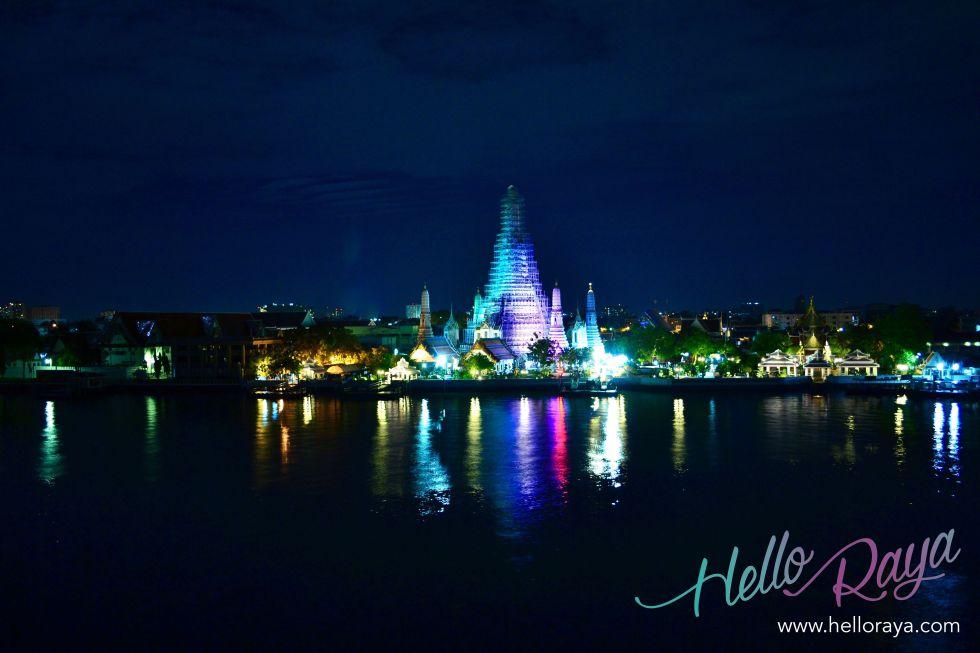 View of Wat Arun at Night | Where to eat in Bangkok, Thailand - Midnight Food Tour | Hello Raya Blog