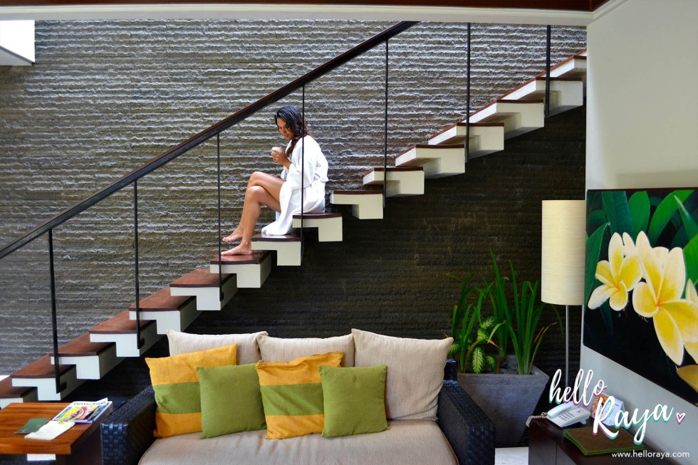 Le Jardin Villas in Seminyak, Bali | Staircase leading up to the second level | Hello Raya Blog