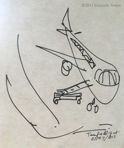Drawing of parked airplane