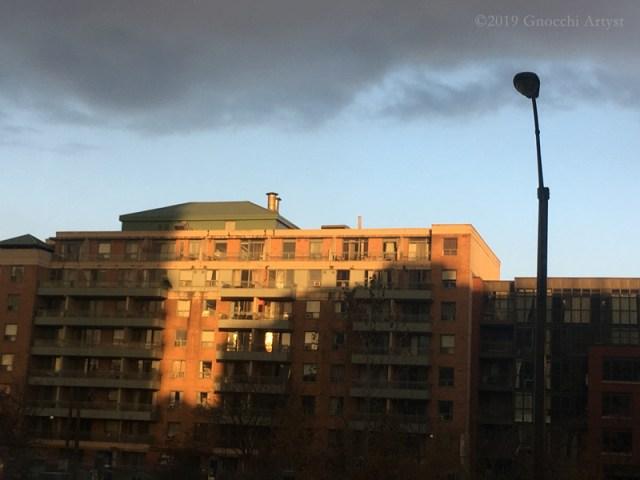 Sun set on residential building