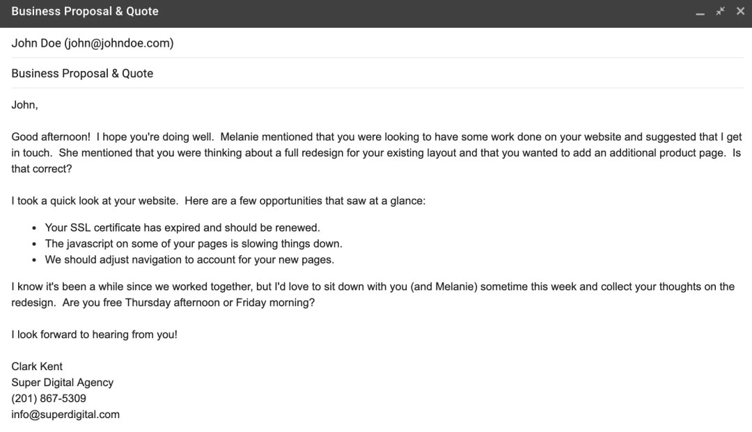 """An example of the """"3 Pointer"""" email."""
