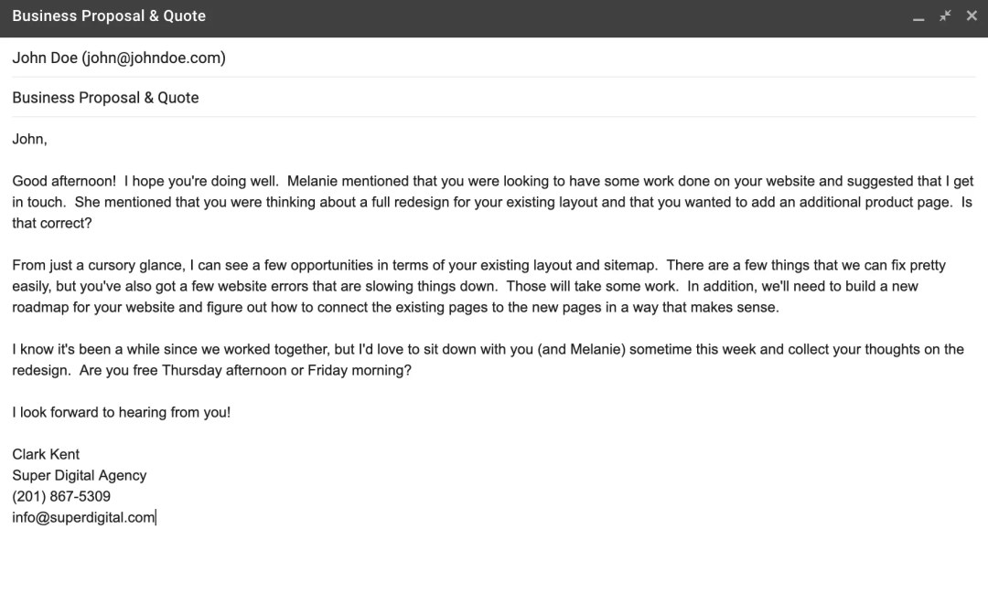 """An example of the """"Classic"""" email."""