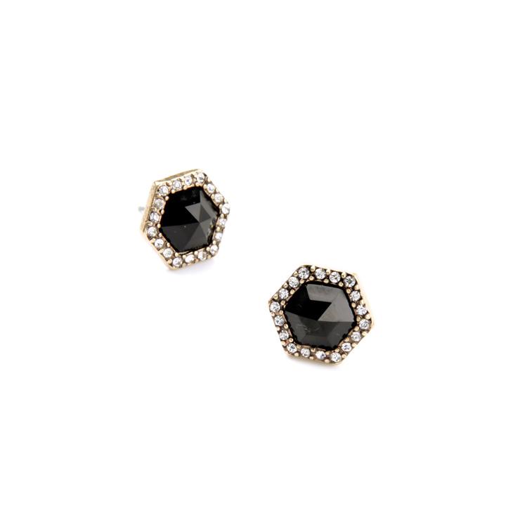 Shadow Black Stone Stud Earrings