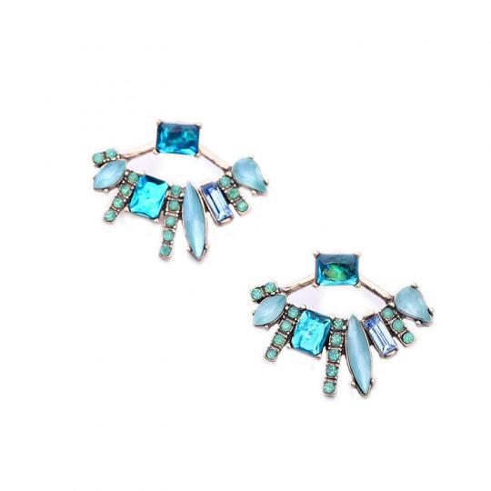 Ocean Blue Multistone Jacket Earrings