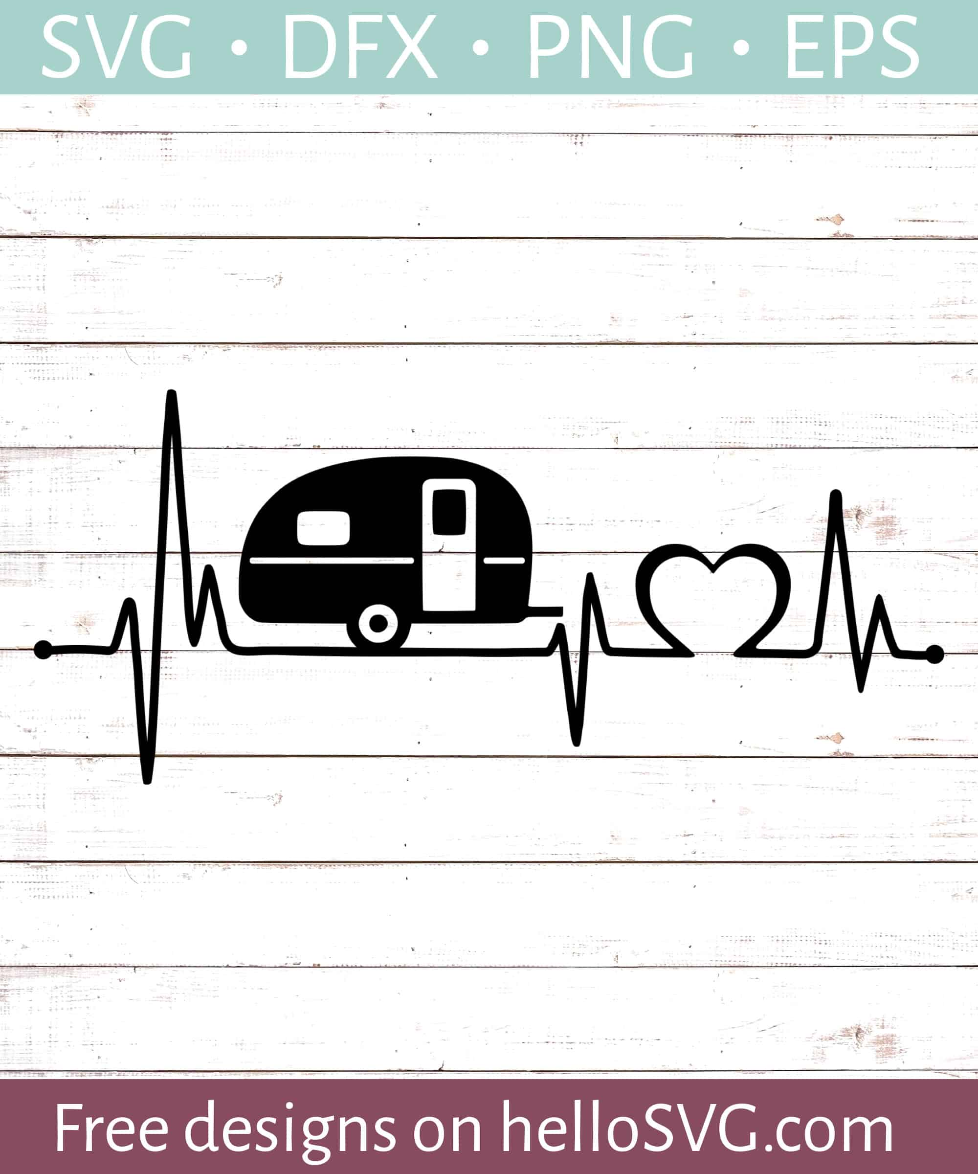 Rv Svg : Heartbeat, Camper, Files, HelloSVG.com