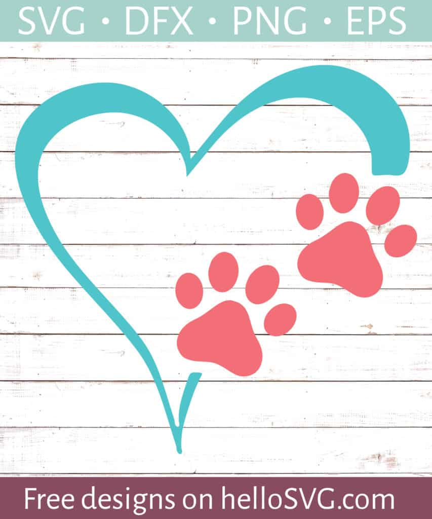 Download Heart and Paw Prints #3 SVG - Free SVG files | HelloSVG.com