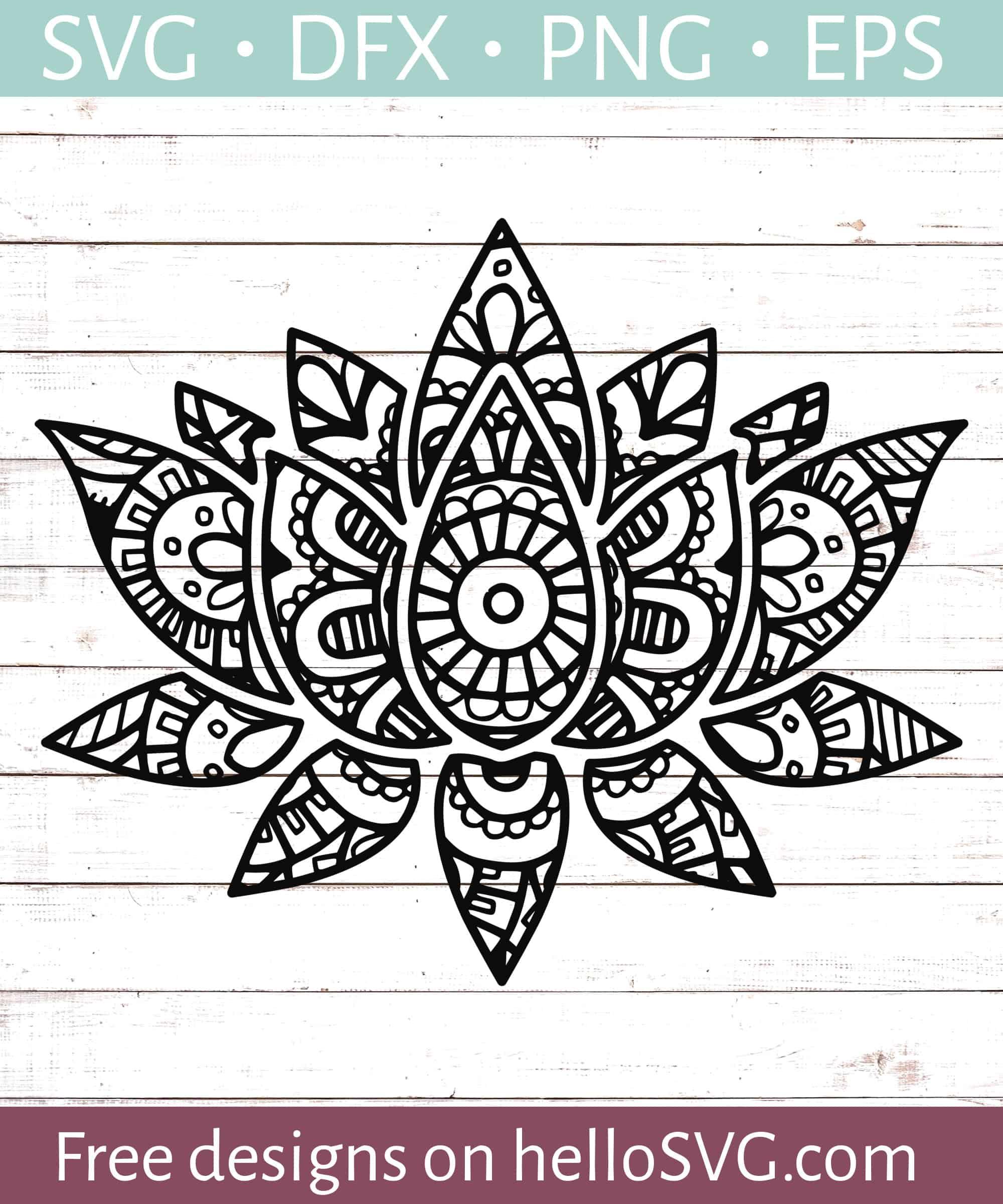 Mandala Svg Free Download : mandala, download, Mandala, Style, Lotus, Flower, Files, HelloSVG.com