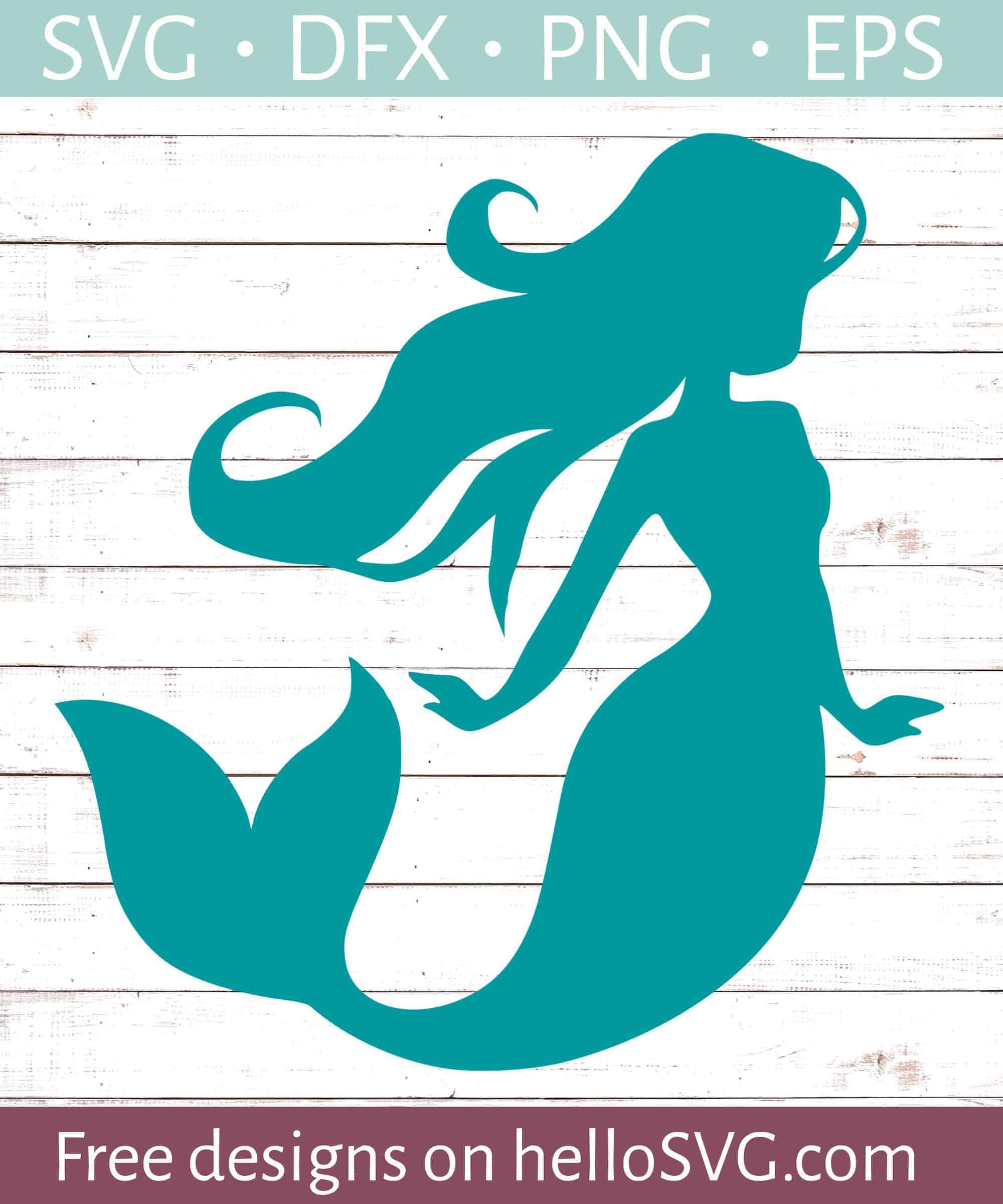 Free Mermaid Svg File : mermaid, Mermaid, Silhouette, Files, HelloSVG.com