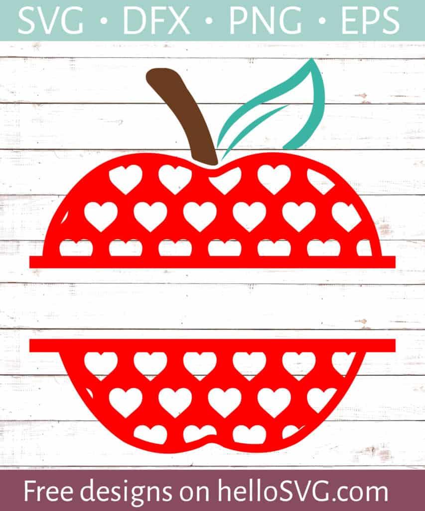 Download Apple with Red Hearts Split Monogram #2 SVG - Free SVG ...