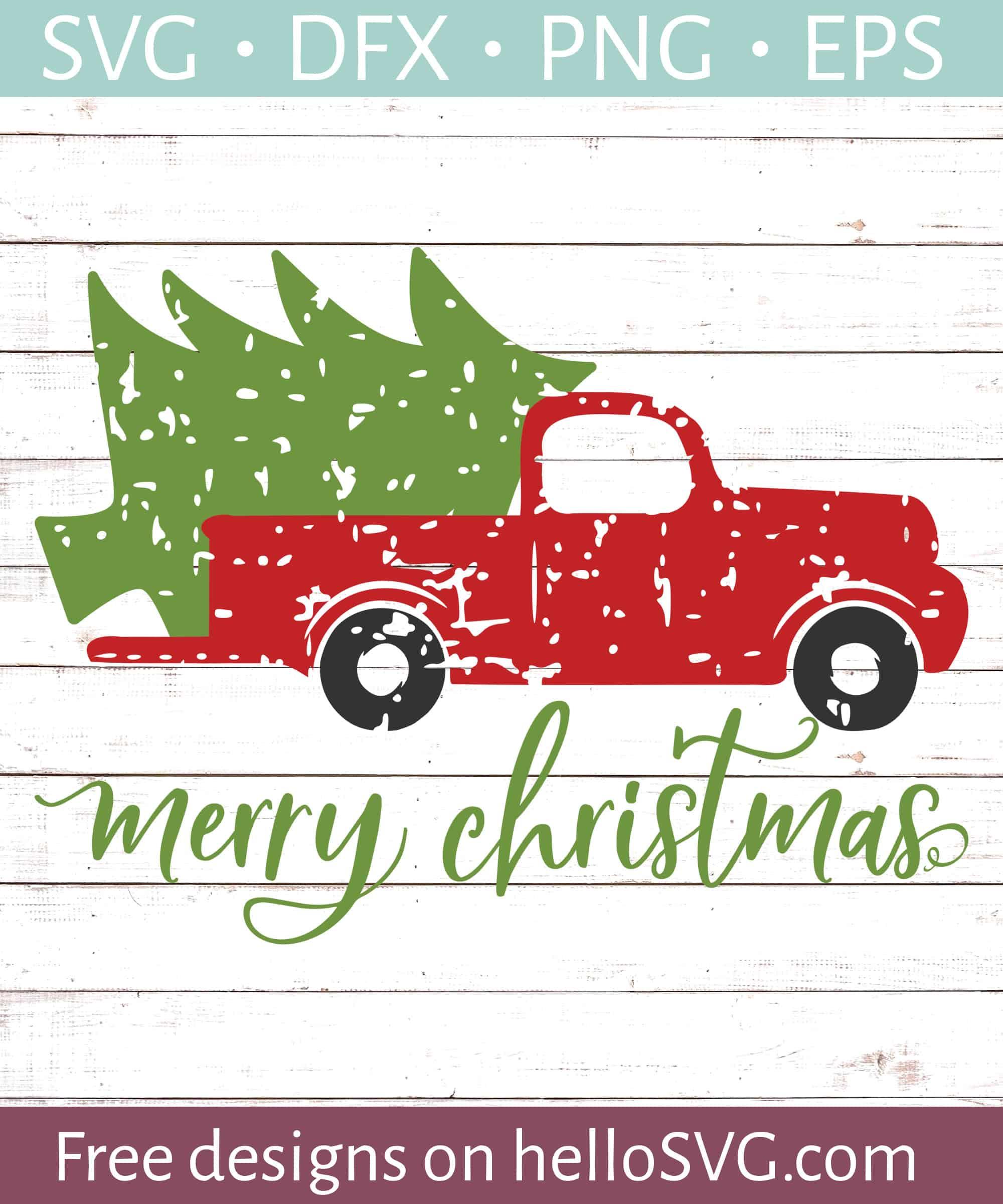 Christmas Truck Svg Free : christmas, truck, Merry, Christmas, Vintage, Truck, Files, HelloSVG.com
