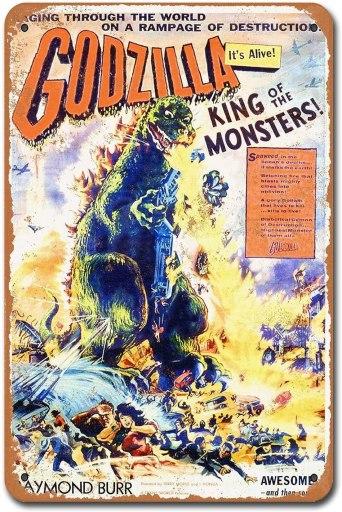 Godzilla tin sign