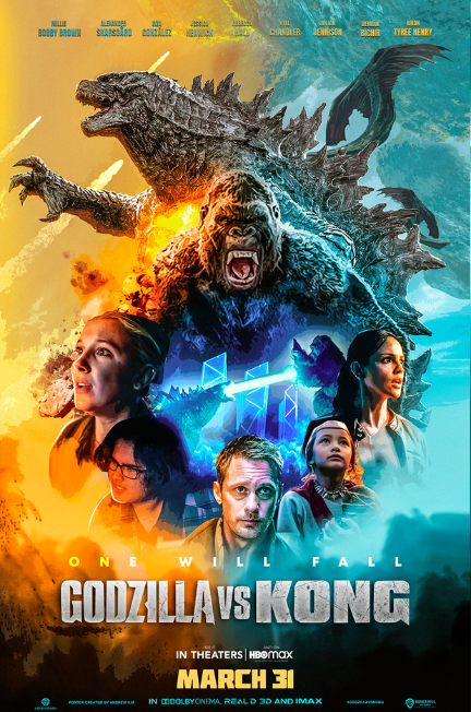 Godzilla vs Kong poster with cast