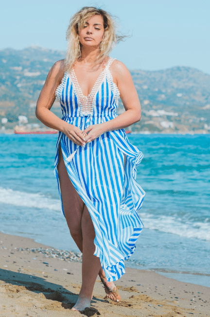 curvy woman in blue and white striped dress