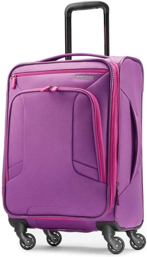 American Tourister 4 Kix Expandable Softside Luggage with Spinner Wheels, purple, Carry-On 21-Inch