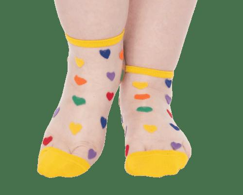 Multicolor Hearts Sheer Socks