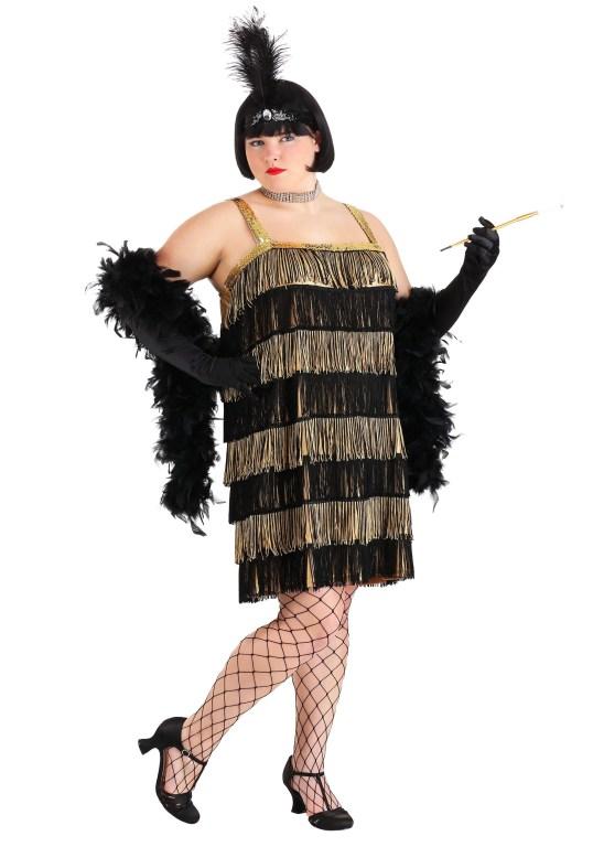 Plus Size Fringe Gold Flapper Costume | XS - 5X