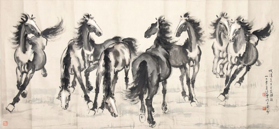 Picture of Eight Horses - Xu Beihong