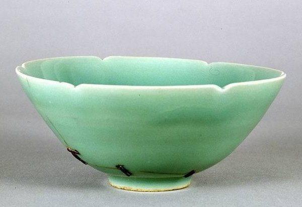 metal stapled celadon bowl juci