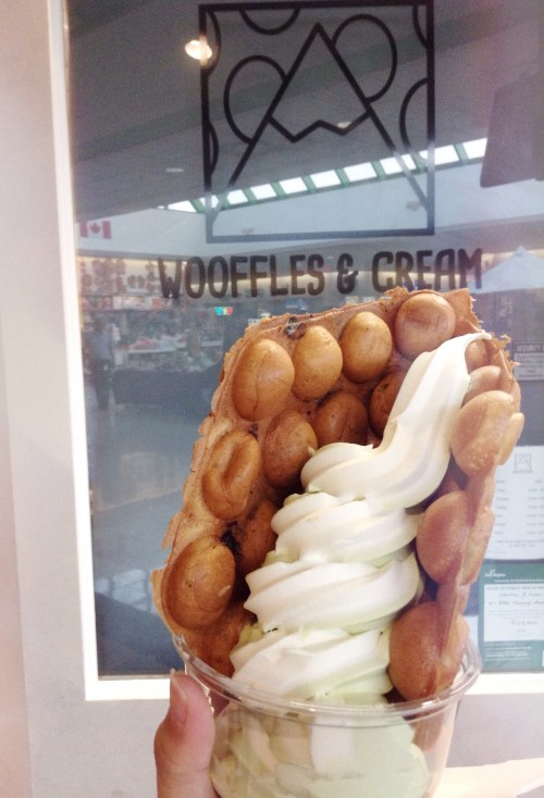 Wooffles and Cream - Cookies and Cream Wooffle with mixed Vanilla and Matcha soft serve - helloteri