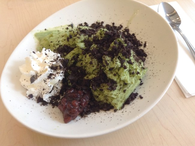 Pastel Creperie & Dessert House - Green Tea Shaved Ice, with Red Bean, Whipped Cream and Oreo Cookie Bits - HELLOTERI
