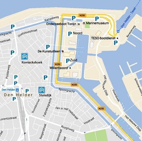 Kaart parkeren boot Texel