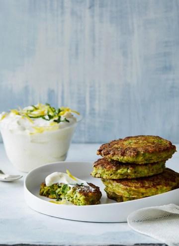 Savory Turmeric Pancakes with Lemon Yogurt Sauce
