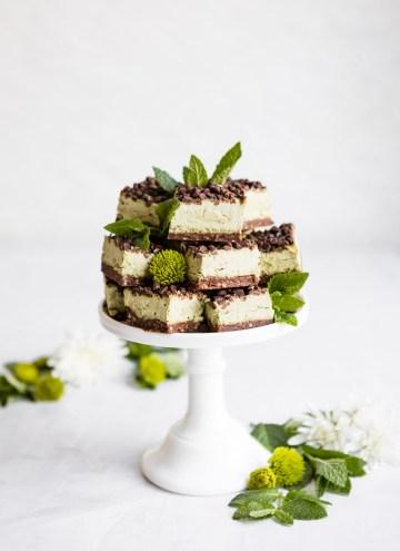 Vegan Mint Matcha Chocolate Chip Cheesecake Bars