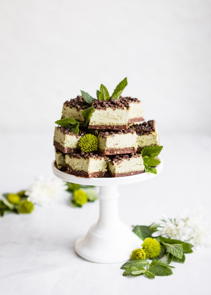 Mint Matcha Chocolate Chip Cheesecake Bars