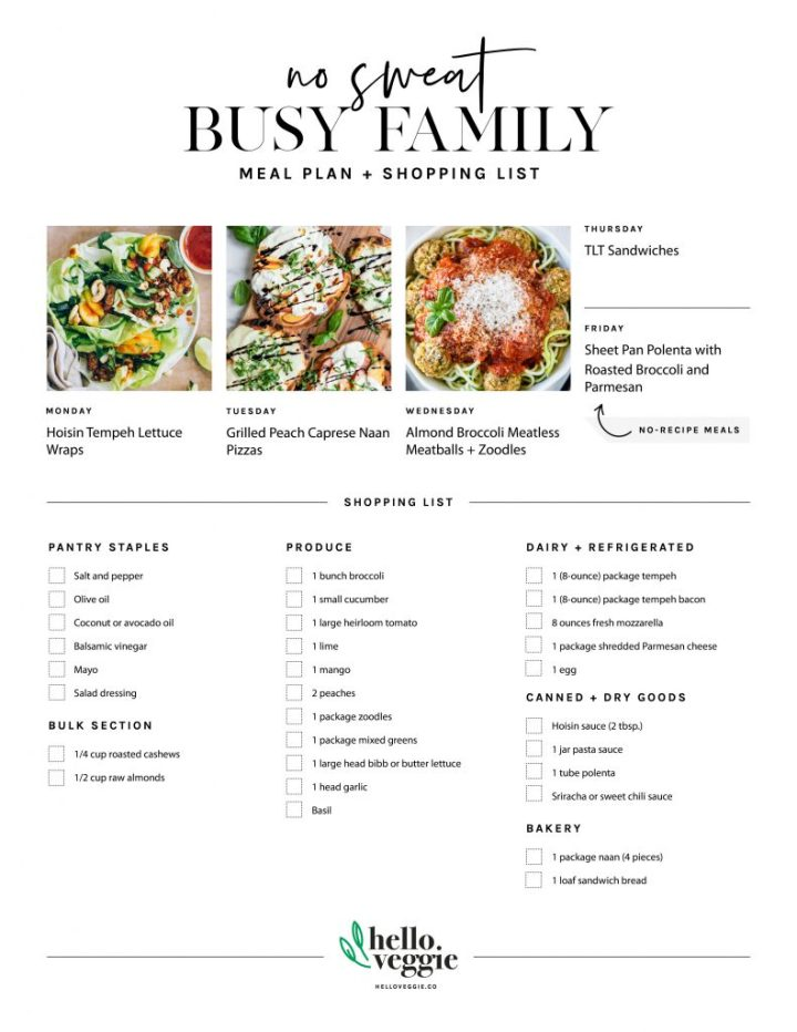 No-Fuss Meal Plan: 5 Fresh Summer Dinners + A Printable Shopping List