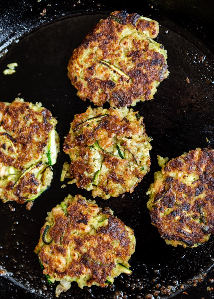 Quinoa White Bean Zucchini Fritters with Burst Cherry Tomatoes